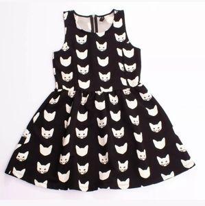 H&M Divided White Cat Pattern Black Skater Dress